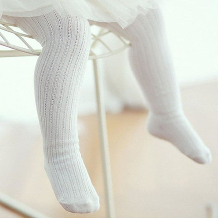 Girls Knitted Tights White Pantyhose Stretch Long Pants - Baby Girls