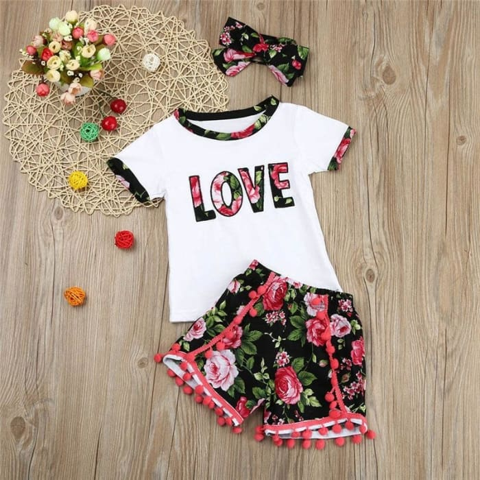 Girls Letter T Shirt Tops+Floral Shorts Pants - White / 4Y - Girls