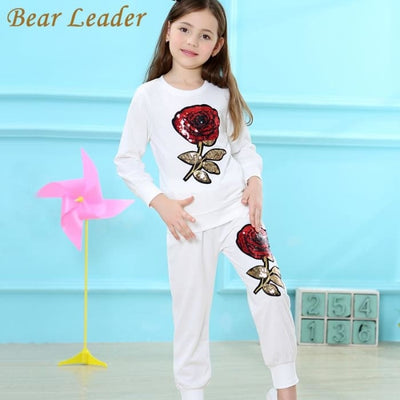 Girls Long Sleeve T-Shirt+Rose Floral Pants 2Pcs - Girls