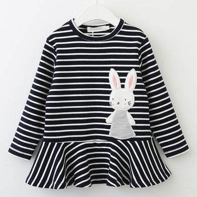 Girls S Long Sleeve Bunny Rabbit Lace Strip - Black / 3Y - Girls