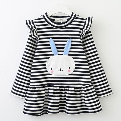 Girls S Long Sleeve Bunny Rabbit Lace Strip - Grey / 3Y - Girls