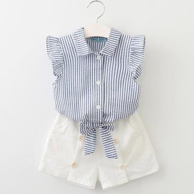 Girls Shirt +Shorts + Belt - Blue / 3Y - Girls