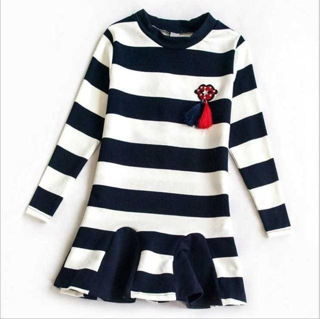 Girls Striped Casual Party Dress - Girls
