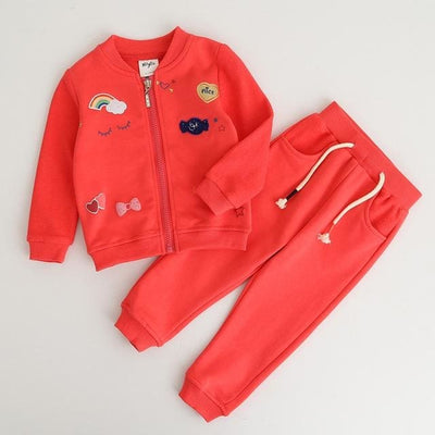 Girls Suit Jacket + Pants - Red / 3Y - Girls