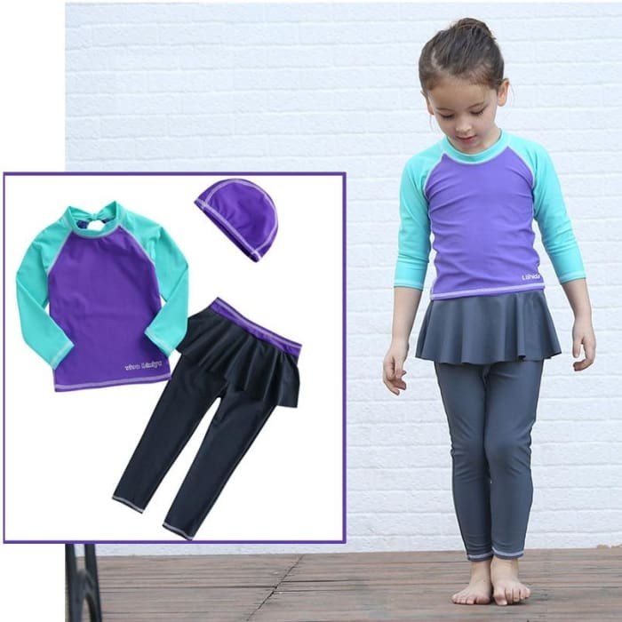Girls Swim Suit 3-Piece Set Long Sleeve With Uv Sun Protection - Purple / 3Y - Girls