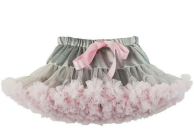 Girls Tulle Party Skirts - Grey Pink / 6Y - Girls