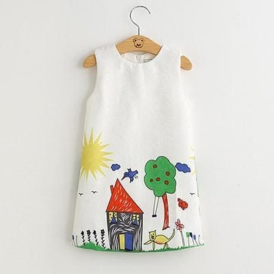 Graffiti Printed Dress - White / 3Y - Girls