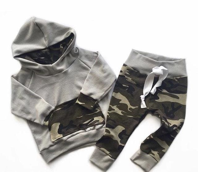 Gray Long Sleeve Hooded Tops+Army Green Pants - Boys
