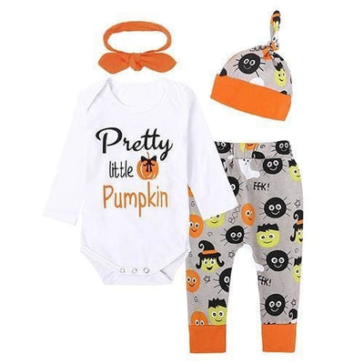 Halloween Pumpkin Outfit - Orange / 1Y 6M - Baby Girls