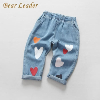 Heart Print Jeans - Girls