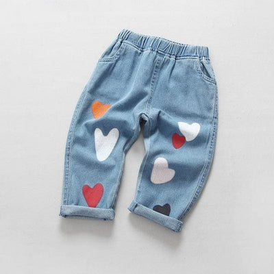Heart Print Jeans - Sky Blue / 3Y - Girls