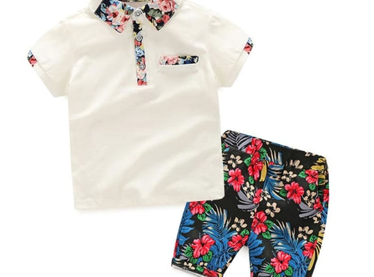 Hort Sleeves Print Shirt + Flower - Pre-Order