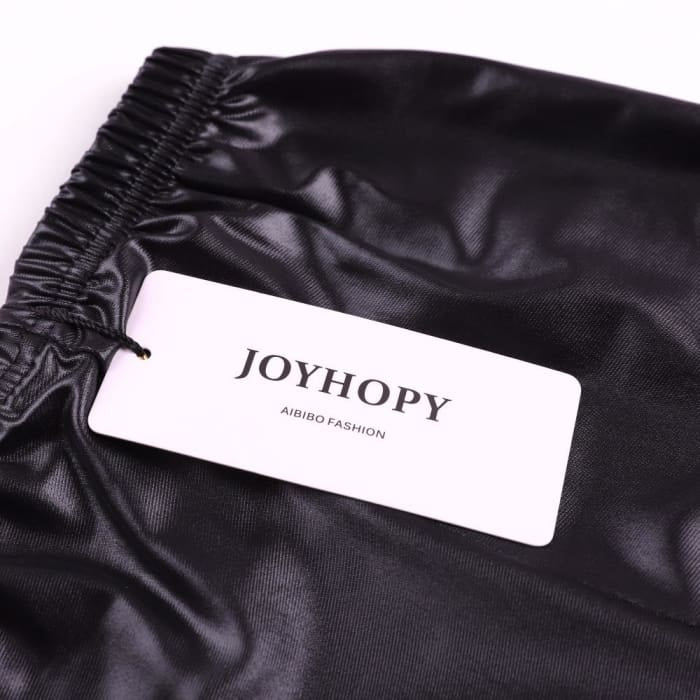 Joyhoppy Skinny Black Leather Slim Fit Leggings - Girls