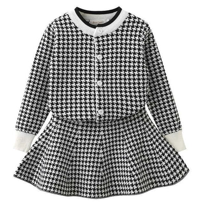 Knitted Suits Long Sleeve Plaid Sweater+Skit - Black / 3Y - Girls