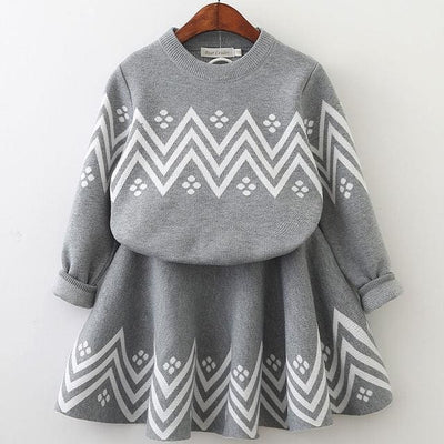 Knitted Suits Long Sleeve Plaid Sweater+Skit - Gray / 3Y - Girls