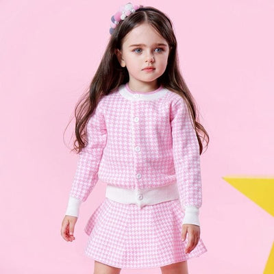 Knitted Suits Long Sleeve Plaid Sweater+Skit - Pink / 3Y - Girls