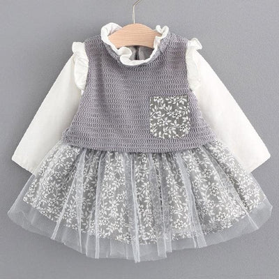 Lace Crew Neck Kids Shirts - Gray / 6M - Baby Girls