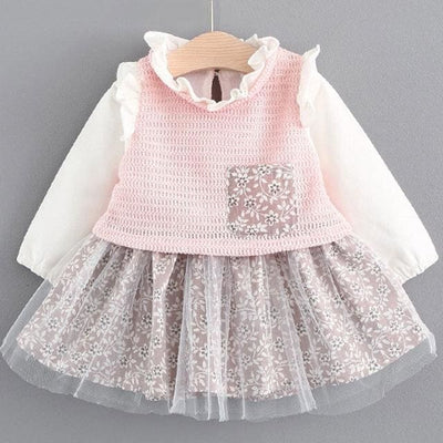 Lace Crew Neck Kids Shirts - Pink 1 / 6M - Baby Girls