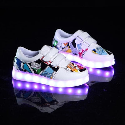Led Luminous Sneakers - White / 1 - Girls