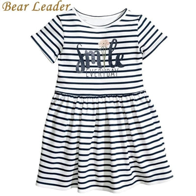 Letter Striped O-Neck Style Fashion Girl Dress - Girls