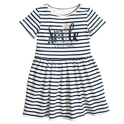 Letter Striped O-Neck Style Fashion Girl Dress - White / 2Y - Girls