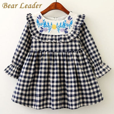 Long Petal Sleeve Plaid Design - Girls