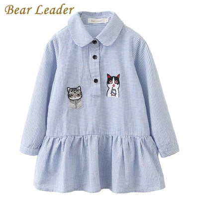 Long Sleeve Blue Striped Embroidery Trun-Down Collar - Girls