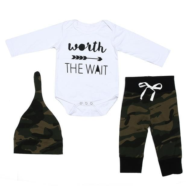 Long Sleeve Bodysuit Top + Camouflage Pants + Hat Toodler Set - Baby Boys