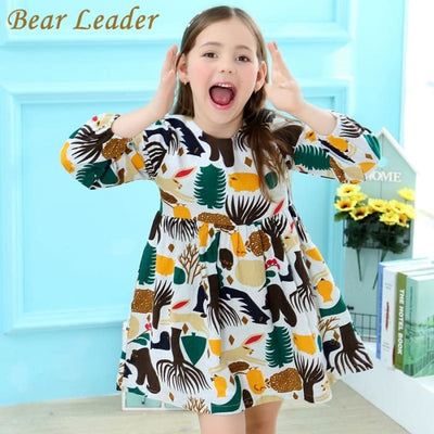 Long Sleeve Cartoon Forest Animals Graffiti - Girls