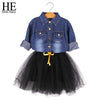 Long Sleeve Denim Shirt Bow Suits Autumn Dresses - Girls