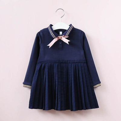 Long Sleeve Embroidery Girls Dress - Navy Blue 1 / 3Y - Girls