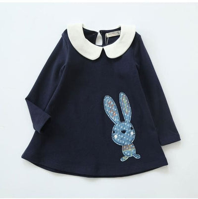 Long Sleeve Embroidery Girls Dress - Navy Blue 2 / 8Y - Girls