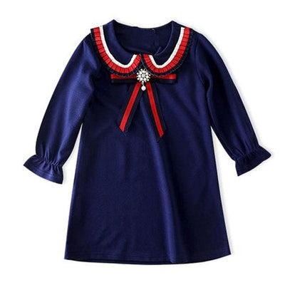 Long Sleeve Embroidery Girls Dress - Navy Blue 3 / 3Y - Girls