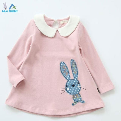 Long Sleeve Embroidery Girls Dress - Pink / 8Y - Girls
