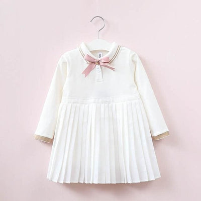 Long Sleeve Embroidery Girls Dress - White 1 / 3Y - Girls