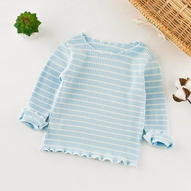 Long Sleeve Girl Tee Cotton Knit Shirts - Girls