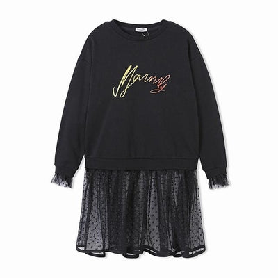 Long Sleeve Girls Dress - Black / 6Y - Girls