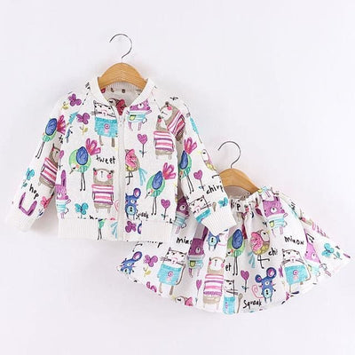 Long Sleeve Girls Outerwear+Grils Skirts - Girls