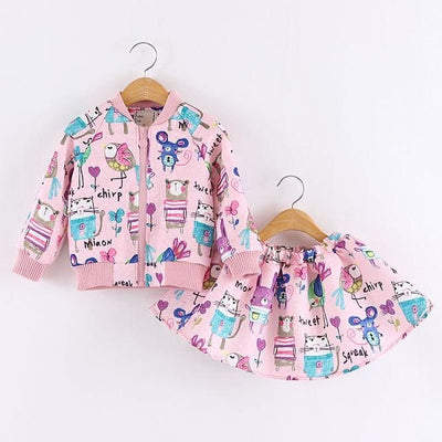 Long Sleeve Girls Outerwear+Grils Skirts - Pink / 3Y - Girls