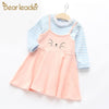 Long Sleeve Kitty Embroidery Fake Two Piece Dress - Girls