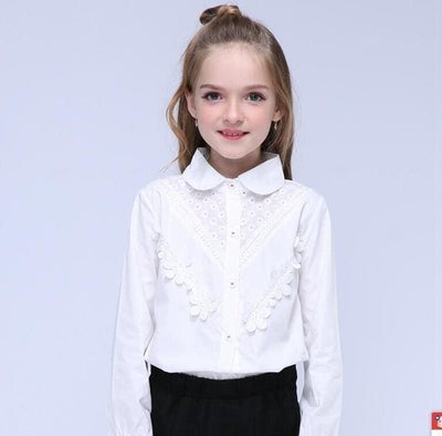 Long Sleeve Lace - White / 4Y - Girls