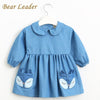 Long Sleeve Lapel Dot Fox Pattern Pocket - Girls