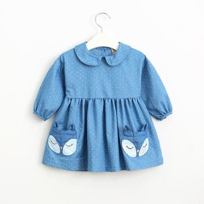 Long Sleeve Lapel Dot Fox Pattern Pocket - Blue / 7Y - Girls