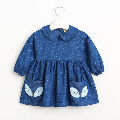 Long Sleeve Lapel Dot Fox Pattern Pocket - Navy Blue / 7Y - Girls