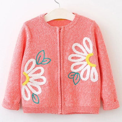 Long Sleeve Outerwear Open Stitch - Orange / 4Y - Girls