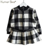 Long Sleeve Plaid Jackets+Skirts 2Pcs - Girls
