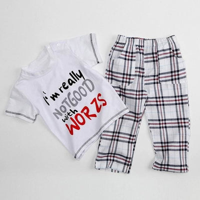 Lphabet Pattern T-Shirt+Lattice Pants - Gray / 3Y - Boys - Outfit