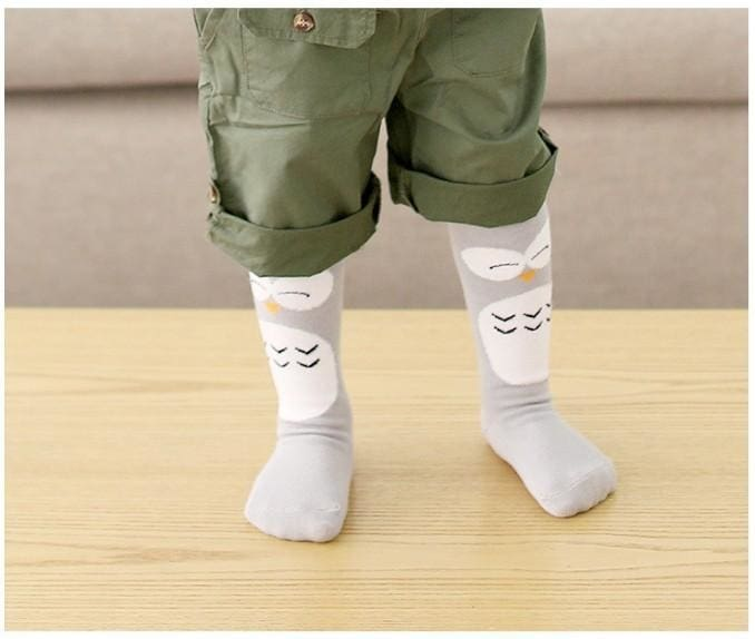 Mid-Calf Length Fashion Socks - Grey Penguin / M - Baby Girls