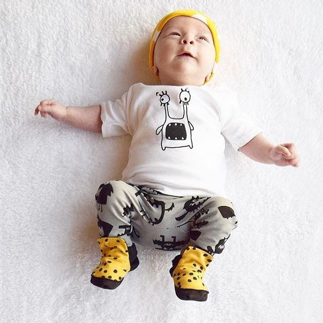 a191b9df3e2a New Style Summer Baby Clothing Sets Boy Cotton Cartoon - White   6M - Boys -