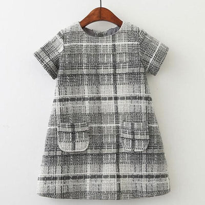 Plaid Pocket Design Princess Dresses - Grey / 3Y - Girls